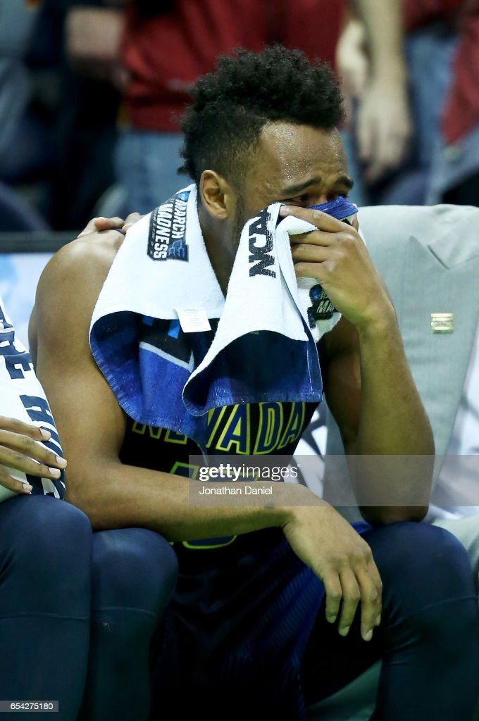 D.J. Fenner #15 of the Nevada Wolf Pack reacts in the second half against the Iowa State Cyclones during the first round of the 2017 NCAA Men's Basketball Tournament at BMO Harris Bradley Center on March 16, 2017 in Milwaukee, Wisconsin.