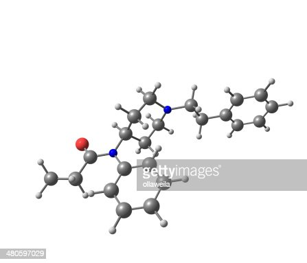 Fentanyl molecular structure on white background : Stock Photo