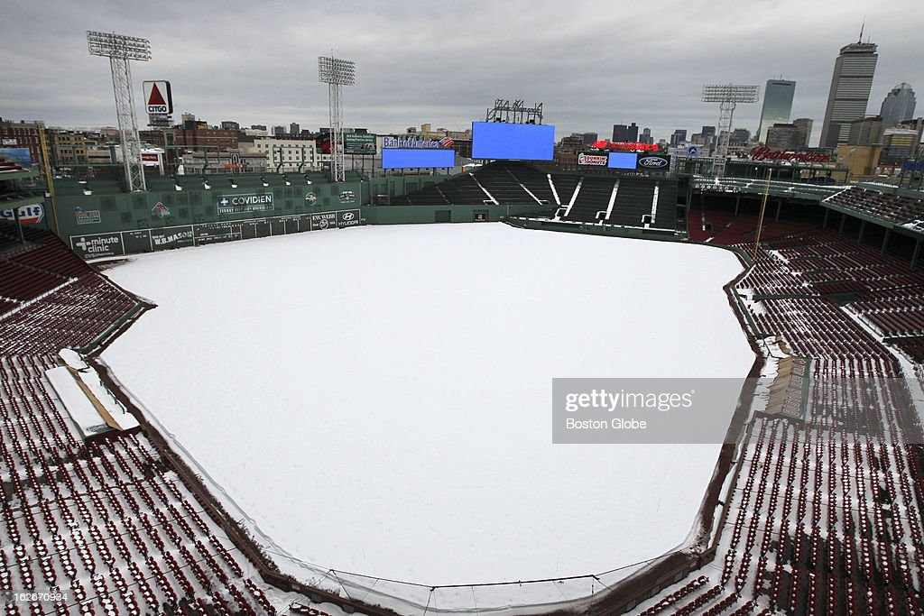 Fenway Park is covered in snow from last weekend's storm, in which a blizzard hit New England.