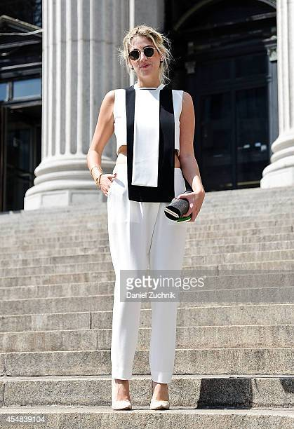 Fer Medina is seen outside the Prabal Gurung show wearing a Cihauh outfit on September 6 2014 in New York City