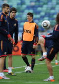 Ferando Torres of Spain smiles during a training session at the Moses Mabhida Stadium on June 15 2010 in Durban South Africa
