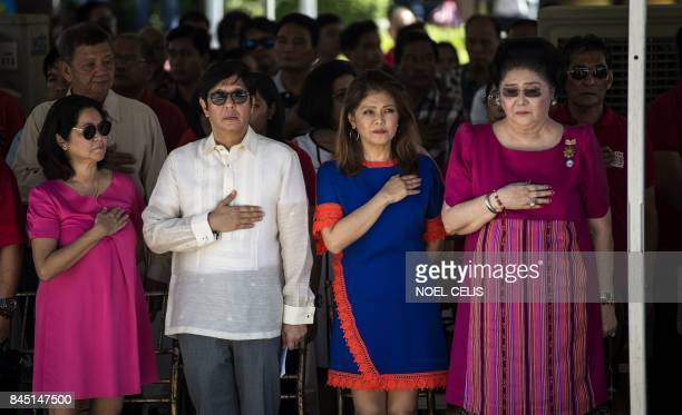Ferdinand 'Bongbong' Marcos Jnr former senator and son of the late dictator Ferdinand Marcos his sister Imee and their mother former Philippine first...