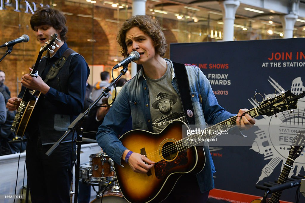 Ferdinand Jonk and Frank Bond of the Dutch band AlascA perform at Station Sessions Festival 2013 at St Pancras Station on April 11, 2013 in London, England.