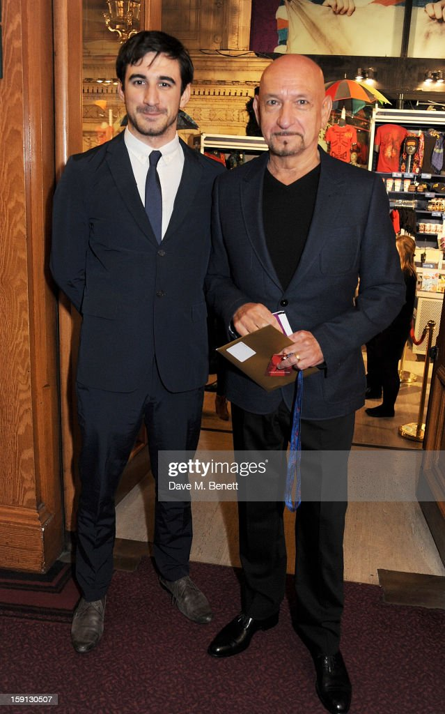 Ferdinand Kingsley (L) and <a gi-track='captionPersonalityLinkClicked' href=/galleries/search?phrase=Sir+Ben+Kingsley&family=editorial&specificpeople=699878 ng-click='$event.stopPropagation()'>Sir Ben Kingsley</a> arrive at the opening night of Cirque Du Soleil's Kooza at Royal Albert Hall on January 8, 2013 in London, England.