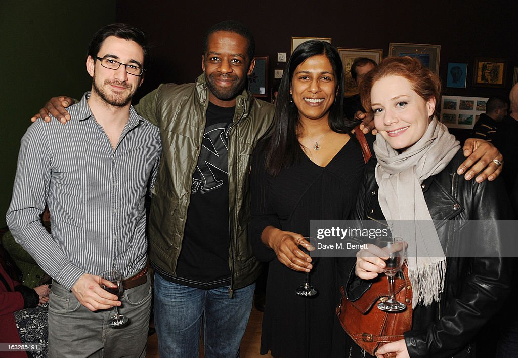Ferdinand Kinsley, <a gi-track='captionPersonalityLinkClicked' href=/galleries/search?phrase=Adrian+Lester&family=editorial&specificpeople=215408 ng-click='$event.stopPropagation()'>Adrian Lester</a> and Lilita Chakrabarti attend an after party following the 'Paper Dolls' press night at Tricycle Theatre on March 6, 2013 in London, England.