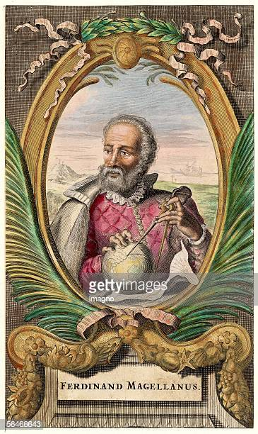 Ferdinand Magellan in an oval holding a globe and a portractor in his hands Colored copper engraving [Ferdinand Magellan im Oval den Globus und einen...