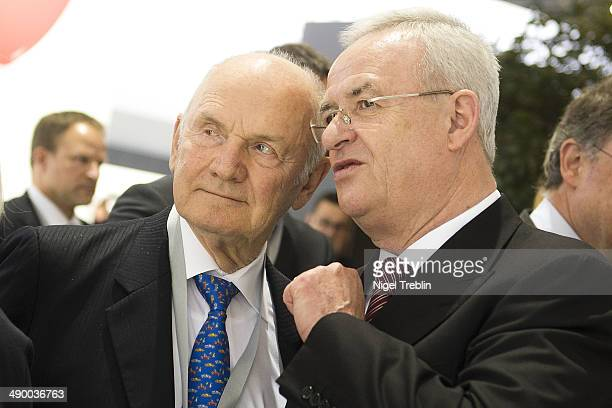 Ferdinand Piech Chairman of the Supervisory Board of Volkwagen Group speak to Martin Winterkorn Chairman of German carmaker Volkswagen AG ahead of...