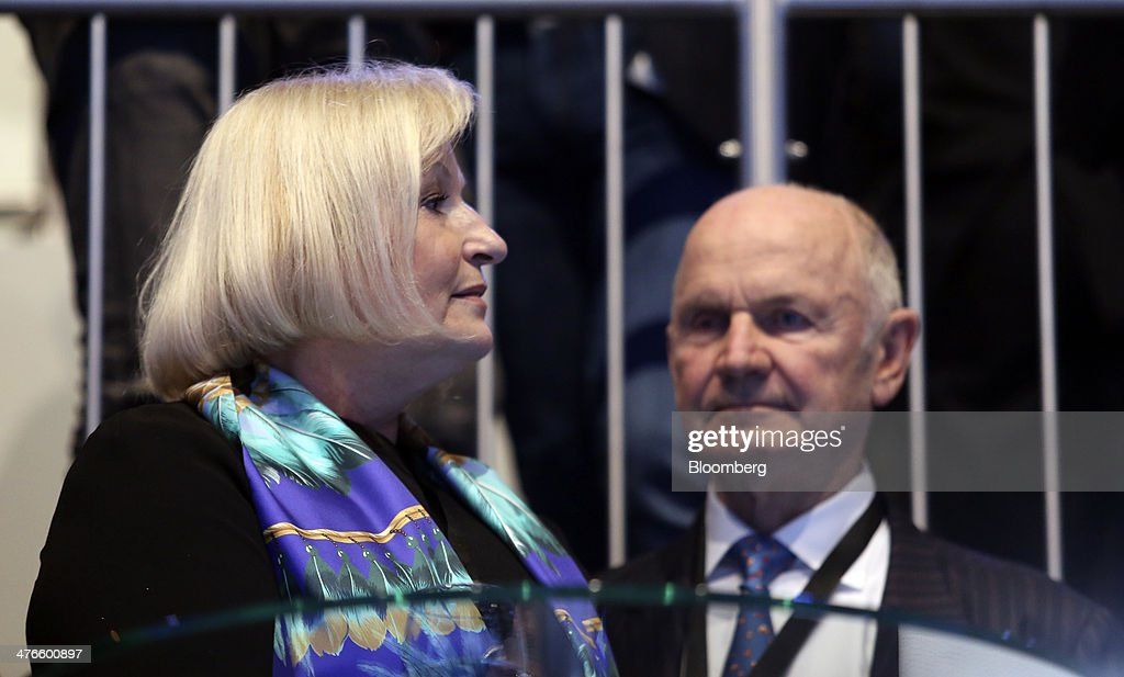Ferdinand Piech, chairman of Volkswagen AG, right, and his wife Ursula Piech, a member of the executive board at Volkswagen AG, attend a news conference ahead of the opening day of the 84th Geneva International Motor Show in Geneva, Switzerland, on Monday, March 3, 2014. The International Geneva Motor Show will run from Mar. 4, and showcase the latest models from the world's top automakers. Photographer: Chris Ratcliffe/Bloomberg via Getty Images