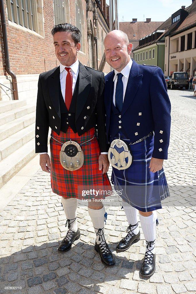 Ferdinand Rennie and Brian Rennie attend the wedding of Prince Francois von Orleans and Theresa von Einsiedel on July 26, 2014 in Straubing, Germany.