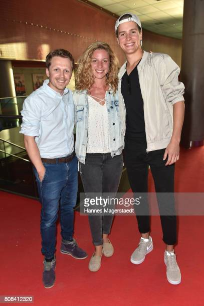 Ferdinand SchmidtModrow Laura Cuenca Serrano and Lucas Bauer during the 'Das Pubertier' Premiere at Mathaeser Filmpalast on July 4 2017 in Munich...