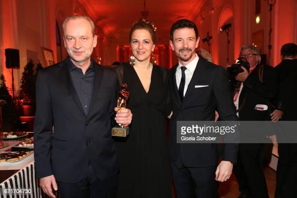 Ferdinand von Schirach and Martina Gedeck and Oliver Berben during the ROMY award at Hofburg Vienna on April 22 2017 in Vienna Austria