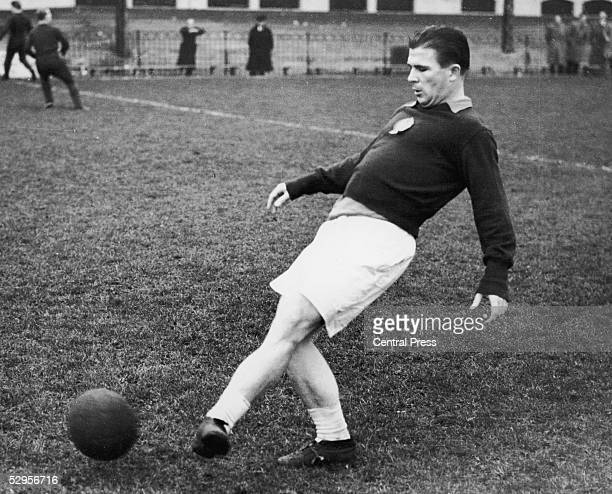 Ferenc Puskas captain of the 'Magic Magyars' Hungarian national team in training at Craven Cottage the Fulham FC ground for an upcoming match at...