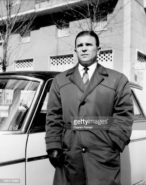 Ferenc Puskas the Hungarian soccer player of Real Madrid with his car in front of the stadium Santiago Bernabeu Madrid Castilla La Mancha Spain