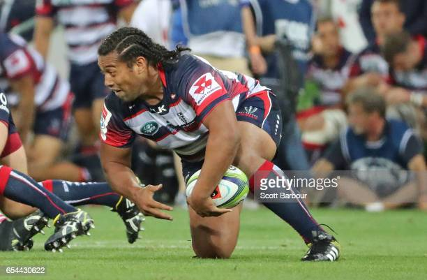 Fereti Sa'aga of the Rebels is tackled during the round four Super Rugby match between the Rebels and the Chiefs at AAMI Park on March 17 2017 in...