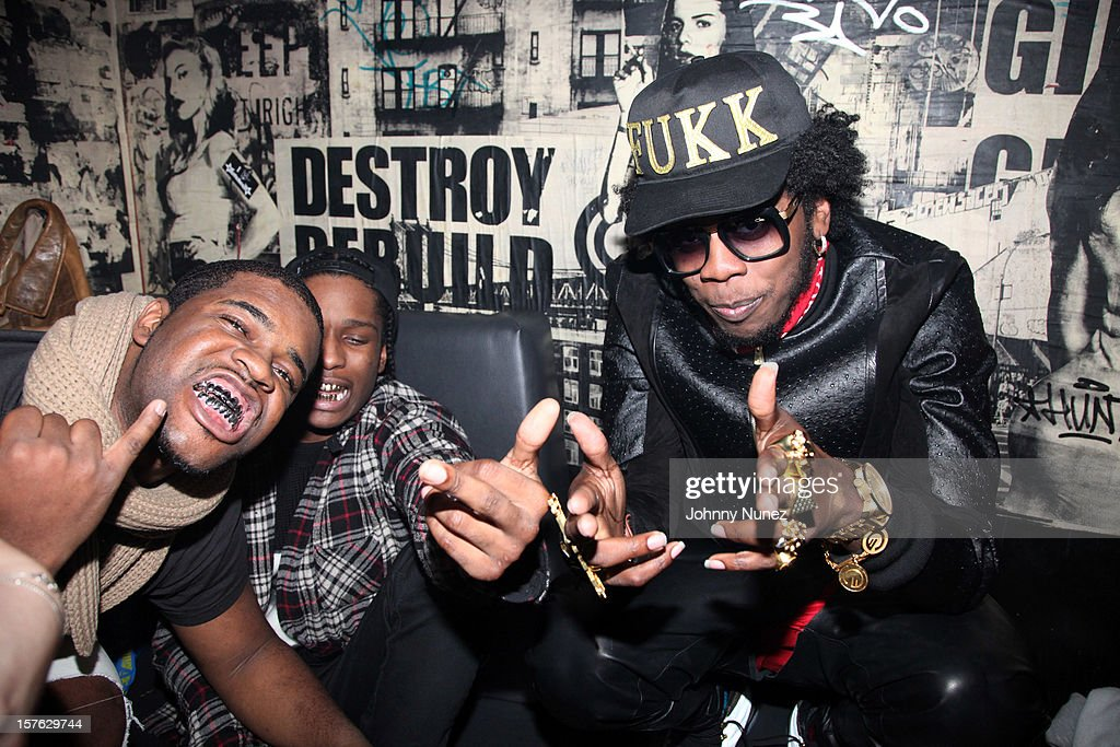 Ferg, A$AP Rocky and Trinidad James backstage at Santos Party House on December 4, 2012 in New York City.