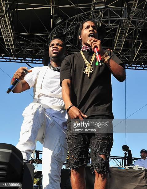 Ferg and A$AP Rocky perform onstage during day 1 of the 2014 Coachella Valley Music Arts Festival at the Empire Polo Club on April 11 2014 in Indio...