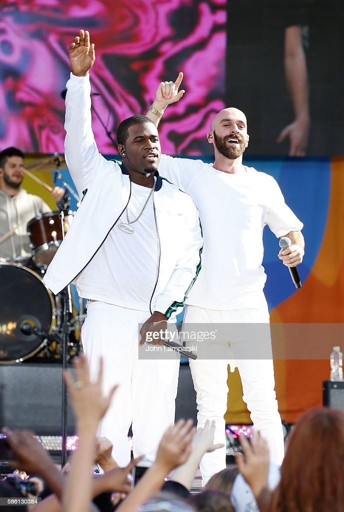 Ferg and Sam Harris of X Ambassadors perform onstage on ABC's 'Good Morning America' at SummerStage at Rumsey Playfield Central Park on August 5 2016...
