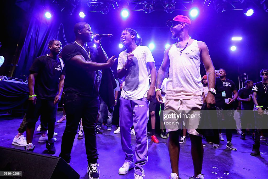 ASAP Ferg ASAP Rocky and Swizz Beatz perform onstage as BACARDI and Swizz Beatz' The Dean Collection present 'No Commission Art Performs' Day 1 on...