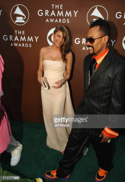 Fergie and apldeap of Black Eyed Peas during The 48th Annual GRAMMY Awards Green Carpet at Staples Center in Los Angeles California United States