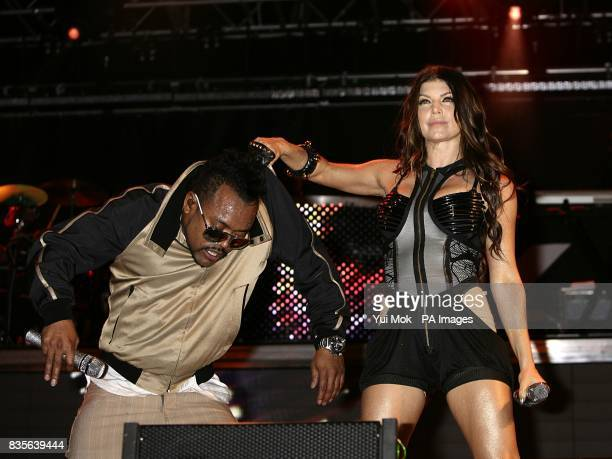 Fergie and apldeap of Black Eyed Peas performing during the 2009 Glastonbury Festival at Worthy Farm in Pilton Somerset