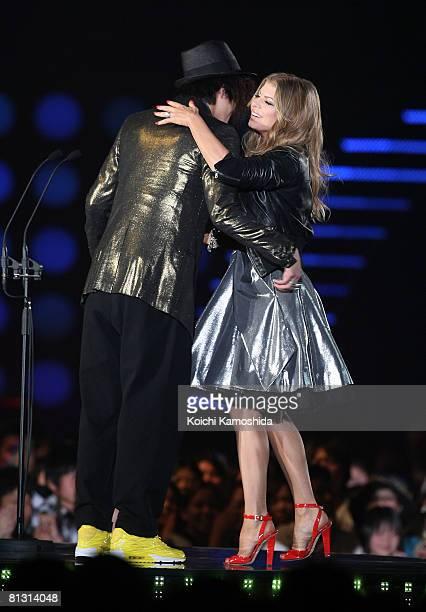 Fergie and Shun Oguri attend the MTV Video Music Awards Japan 2008 at Saitama Super Arena on May 31 2008 in Saitama Japan