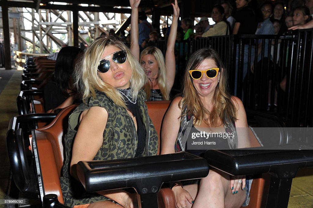 Fergie and sister Dana visit Camp Snoopy and the relaunch of GhostRider at Knott's Berry Farm on July 14 2016 in Buena Park California