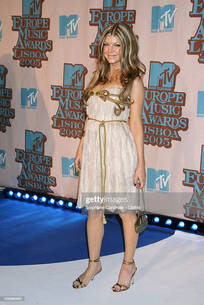 Fergie, lead singer of the Black Eyed Peas, arrives at the 12th annual MTV Europe Music Awards 2005 held at the Atlantic Pavilion in Lisbon.