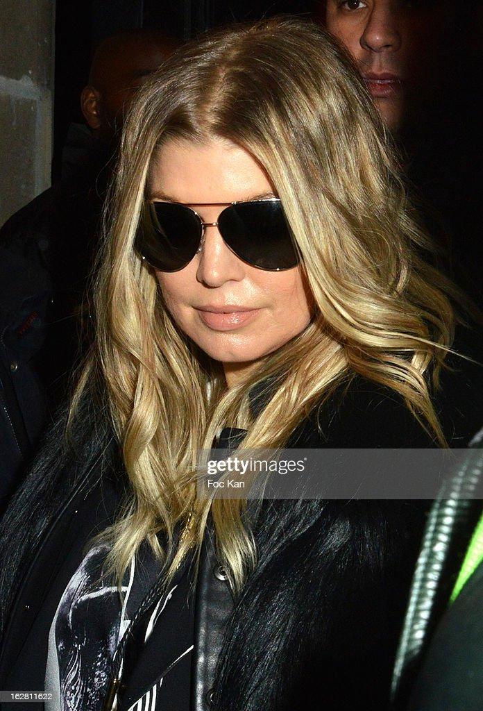 Fergie leaves the Gareth Pugh Show at Hotel de Salomon on February 27, 2013 in Paris, France.