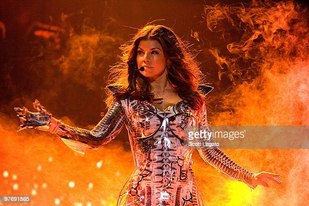 Fergie of Black Eyed Peas performs at the United Center on March 13 2010 in Chicago Illinois