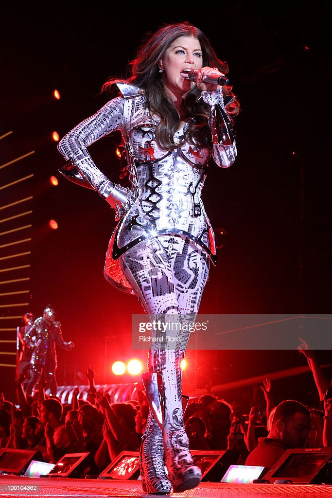Fergie of Black Eyed Peas performs live on stage during a concert at Palais Omnisports de Bercy on May 20, 2010 in Paris, France.