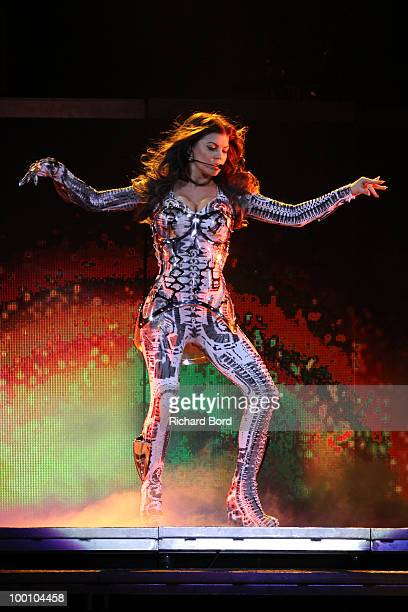 Fergie of Black Eyed Peas performs live on stage during a concert at Palais Omnisports de Bercy on May 20 2010 in Paris France