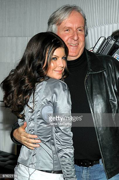 Fergie of the Black Eyed Peas and director James Cameron attends the Samsung 3D LED TV launch party with THE BLACK EYED PEAS at Time Warner Center on...