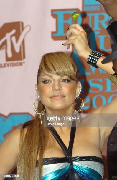 Fergie of the Black Eyed Peas during 2005 MTV European Music Awards Lisbon Press Room at Atlantic Pavillion in Lisbon Portugal