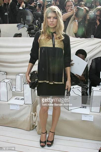 Fergie of the 'Black Eyed Peas' during the Paris Haute Couture Fashion Week Fall/Winter 2008 Chanel Arrivals Front Row on July 3 2007 at Parc de...