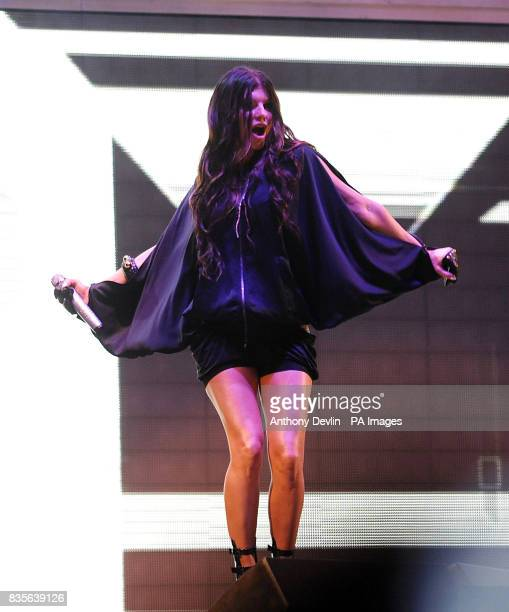 Fergie of The Black Eyed Peas performs during the 2009 Glastonbury Festival at Worthy Farm in Pilton Somerset