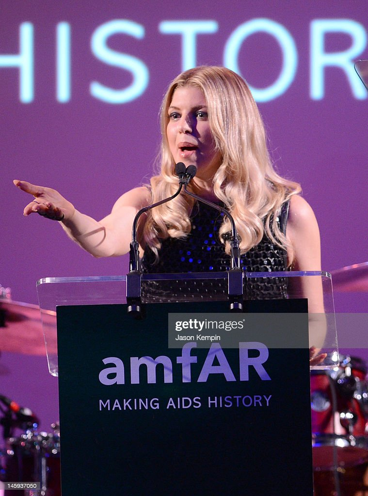 Fergie speaks during the 3rd annual amfAR Inspiration Gala New York at The New York Public Library - Stephen A. Schwarzman Building on June 7, 2012 in New York City.