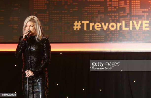 Fergie speaks onstage during The Trevor Project's 2017 TrevorLIVE LA Gala at The Beverly Hilton Hotel on December 3 2017 in Beverly Hills California