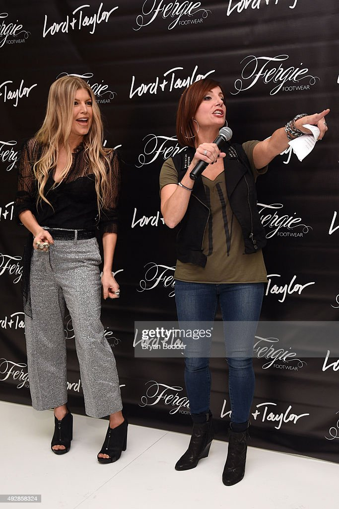Fergie talks with Danielle Monaro during a appearance for Fergie Footwear at Lord & Taylor on October 15, 2015 in New York City.