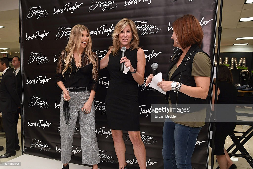 Fergie talks with Karyn Benvenuto and Danielle Monaro during a appearance for Fergie Footwear at Lord & Taylor on October 15, 2015 in New York City.