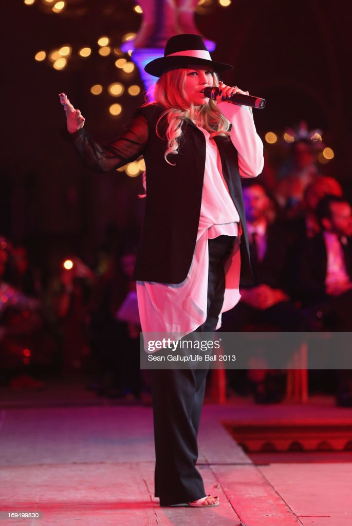 Fergie, who is pregnant, of the Black Eyed Peas, performs at the after show party at the 2013 Life Ball at city hall on May 25, 2013 in Vienna, Austria.