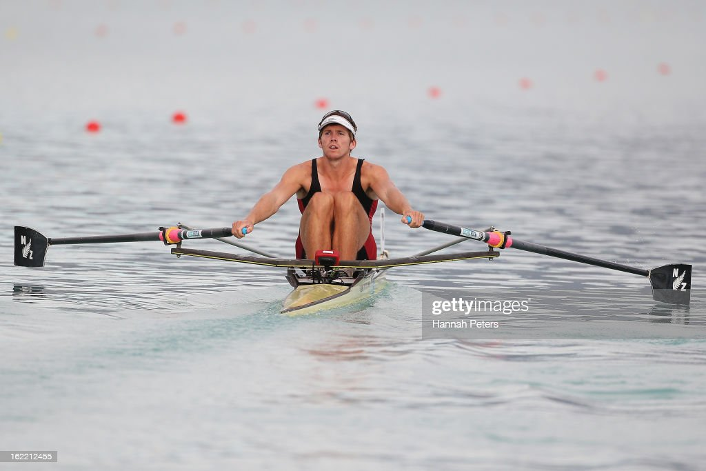 Fergus Fauvel of Southern competes in the Men's Premier 1X semifinal during day three of the New Zealand Rowing Championships at Lake Ruataniwha on February 21, 2013 in Wellington, New Zealand.