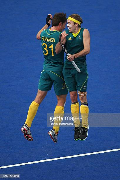 Fergus Kavanagh and Matthew Swann of Australia celebrate their victory after the Men's Hockey bronze medal match on Day 15 of the London 2012 Olympic...