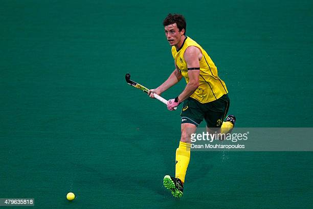 Fergus Kavanagh of Australia in action during the Fintro Hockey World League SemiFinal match between Australia and Great Britain held at KHC Dragons...