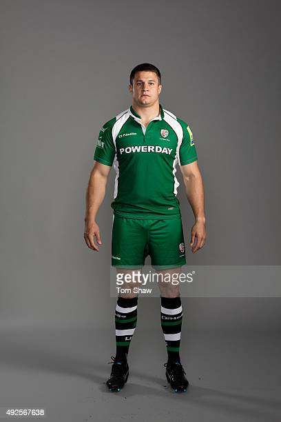 Fergus Mulchrone of London Irish poses for a picture during the London Irish Photocall for BT at Hazelwood Training Ground on September 14 2015 in...