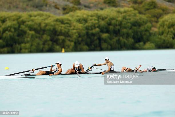 Fergus Robertson Jordon Smith Josh Kilpelainen Flynn Marshall and Summer NanaiStewart of Burnside High finish the Boys under15 coxed four during the...