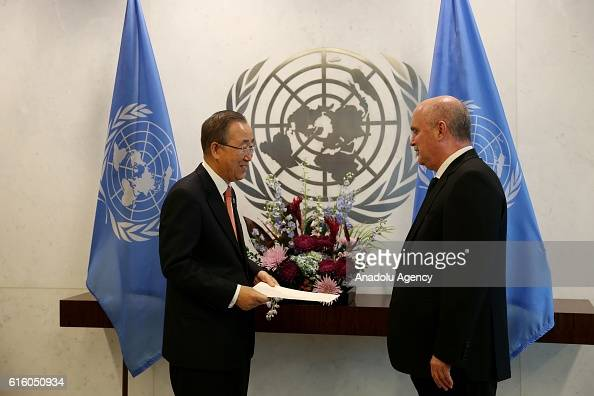 Feridun Sinirlioglu Turkey's permanent representative to the United Nations in New York meets with UN SecretaryGeneral Ban Kimoon in New York United...