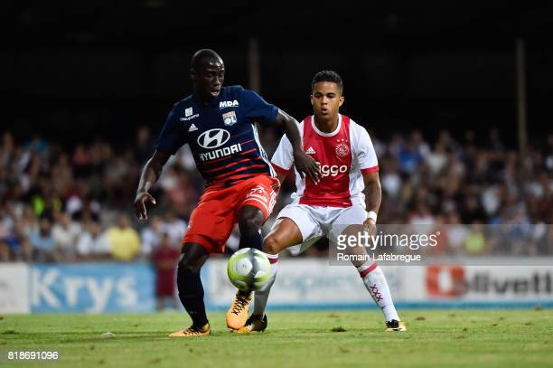 Ferland Mendy of Lyon and Justin Kluivert of Ajax during the friendly match between Olympique Lyonnais Lyon and Ajax Amsterdam on July 18 2017 in...