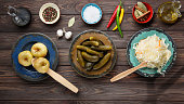 Fermented food, probiotic sources, sauerkraut, cabbage, top view.