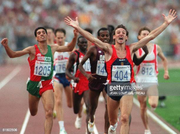 Fermin Cacho of Spain celebrates as he wins the gold medal in the 1500m final 08 August 1992 at the Barcelona's Olympic Games Cacho beat Rachid El...