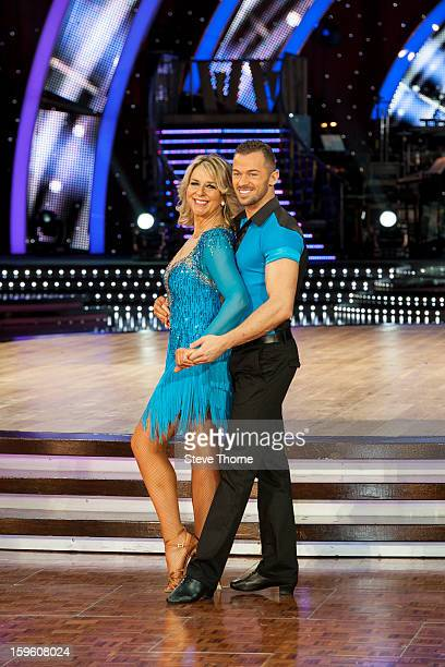 Fern Britton and Artem Chigvintsev attend a photocall ahead of the Strictly Come Dancing Live Tour at NIA Arena on January 17 2013 in Birmingham...